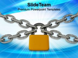 Business Marketing Strategy Templates Padlock And Chain Security Sales Ppt Design Slides Powerpoint