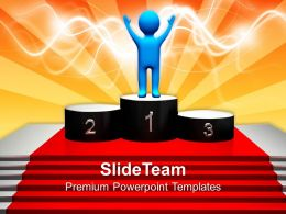 Business Marketing Strategy Templates Winning First Place Podium Success Ppt Slides Powerpoint