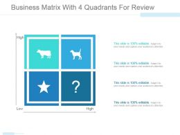 Business Matrix With 4 Quadrants For Review Powerpoint Slide Designs