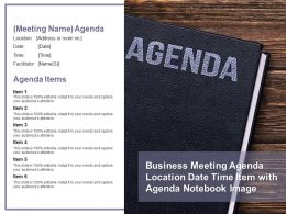 Business Meeting Agenda Location Date Time Item With Agenda Notebook Image