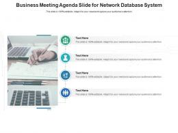 Business Meeting Agenda Slide For Network Database System Infographic Template