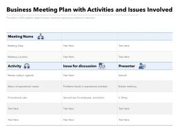 Business Meeting Plan With Activities And Issues Involved