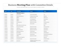 Business Meeting Plan With Committee Details