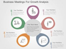 Business Meetings For Growth Analysis Flat Powerpoint Design