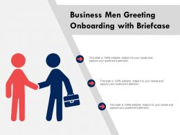 Business Men Greeting On Onboarding With Briefcase