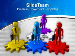 Business Men On Gears Teamwork PowerPoint Templates PPT Themes And Graphics 0213