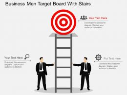 Business Men Target Board With Stairs Flat Powerpoint Desgin