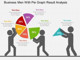 Business Men With Pie Graph Result Analysis Flat Powerpoint Design