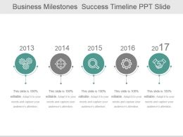 Business Milestones Success Timeline Ppt Slide