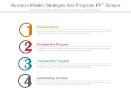 Business Mission Strategies And Programs Ppt Sample