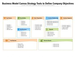 Business Model Canvas Strategy Tools To Define Company Objectives