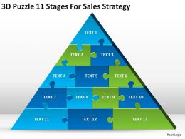 Business Model Diagram 3d Puzzle 11 Stages For Sales Strategy Powerpoint Templates 0522