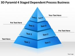 Business Model Diagram 3d Pyramid 4 Staged Dependent Process Powerpoint Templates 0522