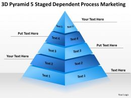 Business Model Diagram 3d Pyramid 5 Staged Dependent Process Marketing Powerpoint Templates 0522