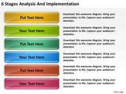 Business Model Diagram 6 Stages Analysis And Implementation Powerpoint Slides