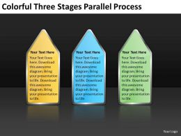 Business Model Diagram Colorful Three Stages Parallel Process Powerpoint Templates