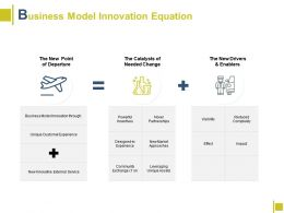 Business Model Innovation Equation Departure Ppt Powerpoint Presentation File Graphics