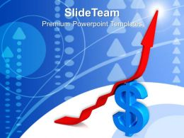 Business Model Presentation Examples Arrow Moving Up Over Dollar Process Ppt Design Powerpoint