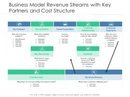 Business Model Revenue Streams With Key Partners And Cost Structure