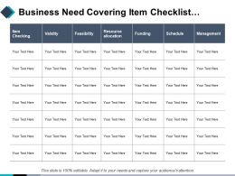 Business Need Covering Item Checklist Validity Resource Allocation Management
