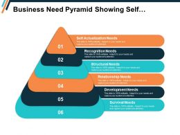 Business Need Pyramid Showing Self Actualization Recognition Structural And Survival