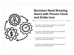 Business Need Showing Gears With Person Clock And Dollar Icon