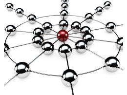 Business Network And Leadership With Metallic Balls Connected With One Red Stock Photo