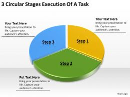 Business Network Diagram 3 Circular Stages Execution Of Task Powerpoint Slides