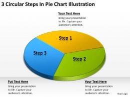 Business Network Diagram 3 Circular Steps Pie Chart Illustration Powerpoint Slides
