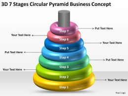 Business Network Diagram 3d 7 Stages Circular Pyramid Concept Powerpoint Slides