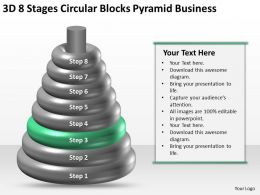 Business Network Diagram 3d 8 Stages Circular Blocks Pyramid Powerpoint Slides