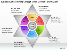 Business Network Diagram And Marketing Concept Mixed Circular Flow Powerpoint Slides