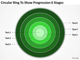 Business Network Diagram Circular Ring To Show Progression 6 Stages Powerpoint Slides