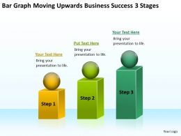 Business Network Diagram Examples Graph Moving Upwards Success 3 Stages Powerpoint Slides