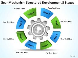 Business Network Diagram Gear Mechanism Structured Development 8 Stages Powerpoint Templates