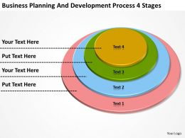 Business Network Diagram Planning And Development Process 4 Stages Powerpoint Slides