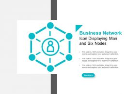 Business Network Icon Displaying Man And Six Nodes