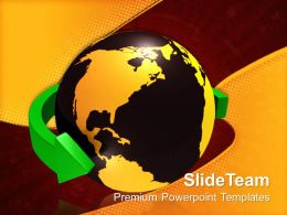 Business Network Presentation Green Arrow Around The World Global Ppt Slides Powerpoint