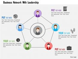 Business Network With Leadership Flat Powerpoint Design