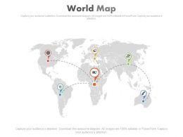 Business Networking Chart On World Map Powerpoint Slides