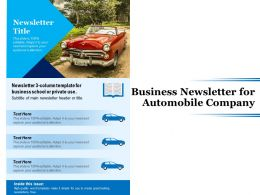 Business Newsletter For Automobile Company