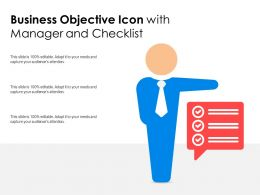 Business Objective Icon With Manager And Checklist