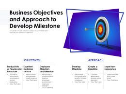 Business Objectives And Approach To Develop Milestone