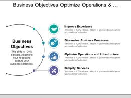 Business Objectives Optimize Operations And Infrastructure With Icons