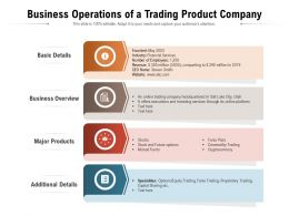 Business Operations Of A Trading Product Company
