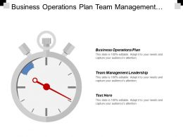 Business Operations Plan Team Management Leadership Selling Technique Cpb