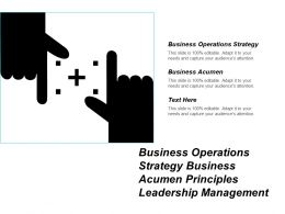 Business Operations Strategy Business Acumen Principles Leadership Management Cpb