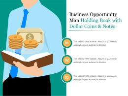 Business Opportunity Man Holding Book With Dollar Coins And Notes
