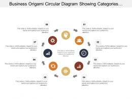 Business Origami Circular Diagram Showing Categories With Value Estimation In Percent