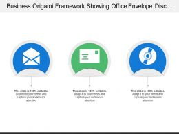 Business Origami Framework Showing Office Envelope Disc And Cards